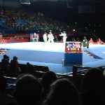 View from our seats for Tae Kwon Do at the Excel Center