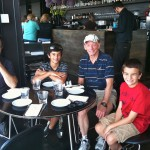 Tea time at the Tate Modern with our family dentist, Dr. Robert Plant. He stopped by for the Olympics, too.